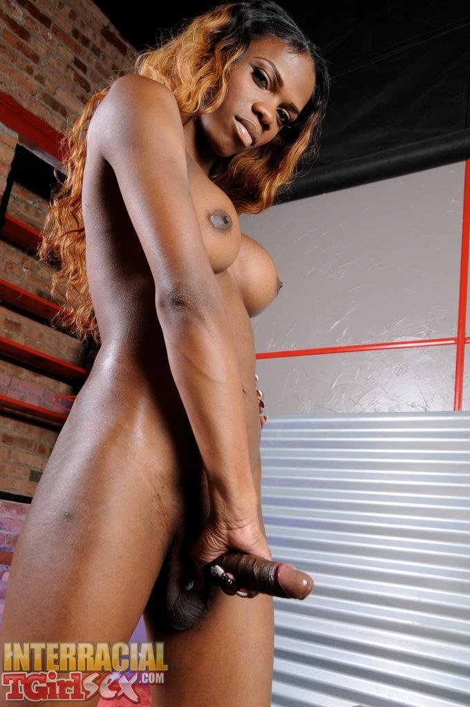 Ebony Brooke Wanks Her Massive Penis