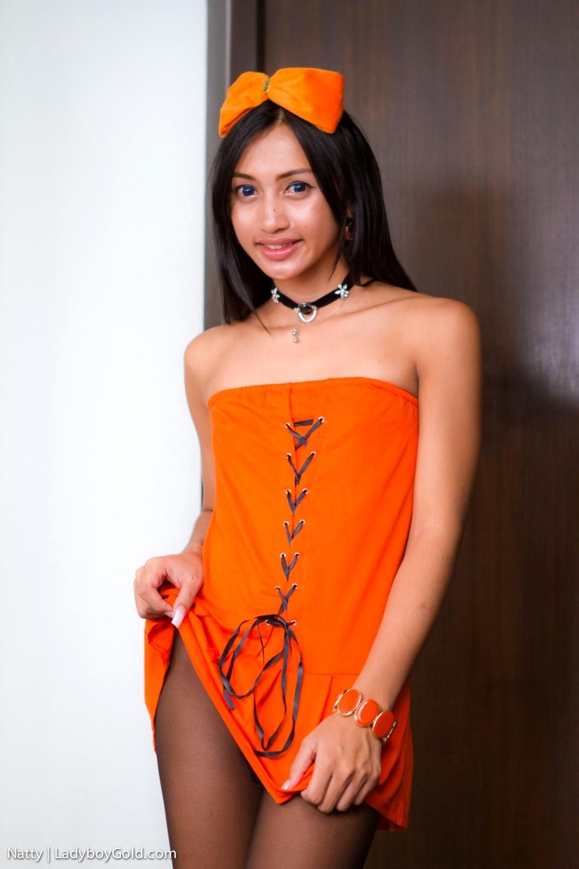 Natty Pulls Up Her Sweet Orange Skirt To Show Her Dick Throug