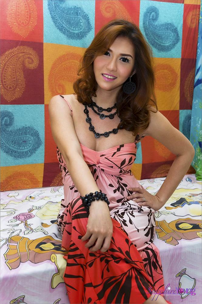 Nice Thai Tgirl Sapphire Young In Flowered Skirt
