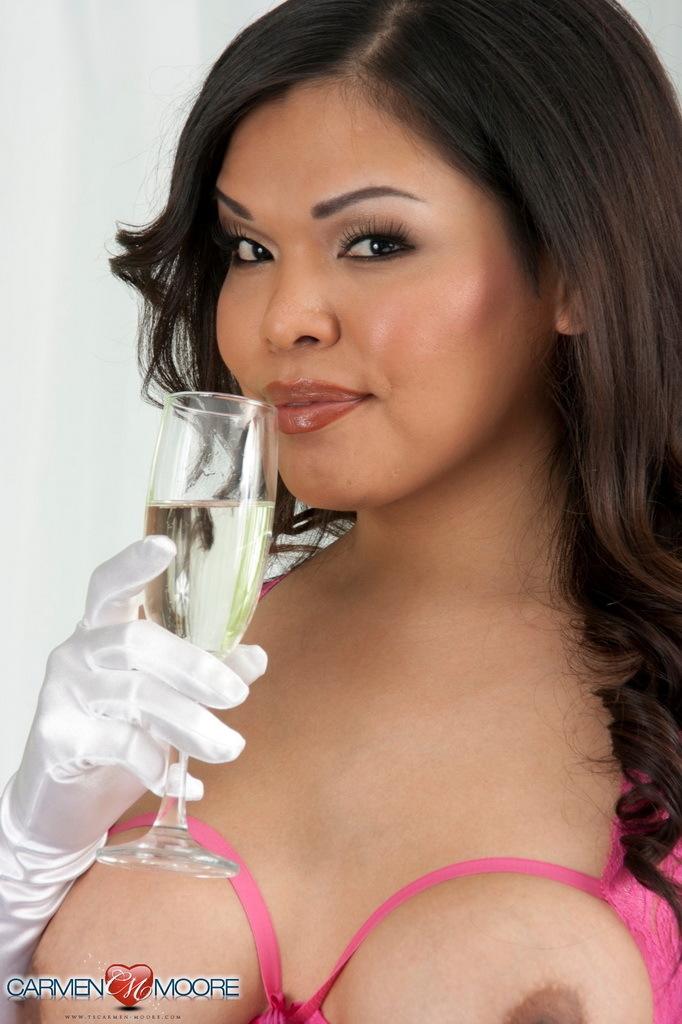 Spicy Ladyboy Hottie Carmen Having Champagne